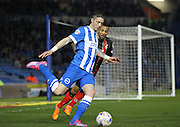 Brighton's Greg Halford clearing the ball during the Sky Bet Championship match between Brighton and Hove Albion and Bournemouth at the American Express Community Stadium, Brighton and Hove, England on 10 April 2015. Photo by Phil Duncan.