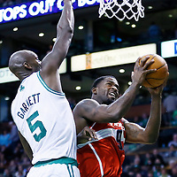 07 April 2013: Washington Wizards small forward Martell Webster (9) goes for the layup against Boston Celtics center Kevin Garnett (5) during the Boston Celtics 107-96 victory over the Washington Wizards at the TD Garden, Boston, Massachusetts, USA.