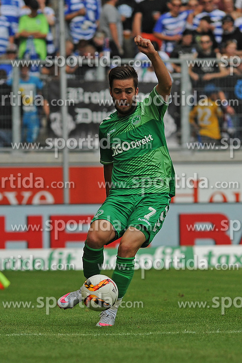 29.08.2015, Duisburg, GER, 2. FBL, MSV Duisburg vs SpVgg Greuther Fuerth, 5. Runde, im Bild Niko Giesselmann ( SpVgg Greuther Fuerth ) // during the 2nd German Bundesliga 5th round match between MSV Duisburg and SpVgg Greuther Fuerth at the Schauinsland Reisen Arena in Duisburg, Germany on 2015/08/29. EXPA Pictures &copy; 2015, PhotoCredit: EXPA/ Eibner-Pressefoto/ Thienel<br /> <br /> *****ATTENTION - OUT of GER*****