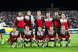 OSIJEK, CROATIA - Tuesday, October 16, 2012: Wales' players line up for a team group photograph before the Brazil 2014 FIFA World Cup Qualifying Group A match against Croatia at the Stadion Gradski Vrt. Back row L-R: captain Ashley Williams, goalkeeper Lewis Price, Steve Morison, Darcy Blake, Joe Ledley, David Vaughan. Front row L-R: Gareth Bale, Chris Gunter, Joe Allen, Ben Davies, Andy King. (Pic by David Rawcliffe/Propaganda)