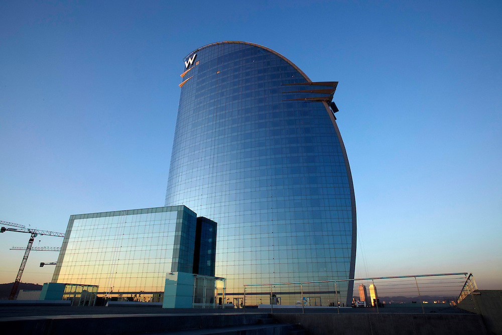 "Feb, 02. 2010. City of Barcelona. New hotel ""W Barcelona"" from the Starwood Hotels company. Located in the beach of ""La Barceloneta""."