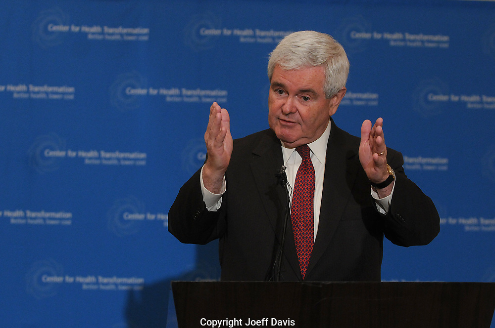 Newt Gingrich's press conference at the St. Regis hotel in the Buckhead community of Atlanta, Georgia, March 25, 2010. <br /> <br /> Gingrich railed against President Obama's  recently passed health care reform bill that would extend insurance to millions of Americans -- including some 1.7 million Georgians. Gingrich called Obama's policies &quot;secular socialism.&quot;.<br /> <br /> Gingrich was in town for an event held by the Center for Health Transformation, a for-profit organization that aims to &quot;grow a movement that will accelerate the adoption of transformational health solutions and policies that create better health and more choices at lower cost.&quot; This organization which according to a press release helps &quot;grow the movement&quot; was created by Gingrich.<br /> <br /> Text by Thomas Wheatley and Joeff Davis. Photo &copy; Joeff Davis-All Rights Reserved-www.Joeff.com-Photo cannot be used in any way shape or form without permission of Joeff Davis. Contact Joeff Davis at 773.544.6945 or by e-mail at JJSBD@aol.com.