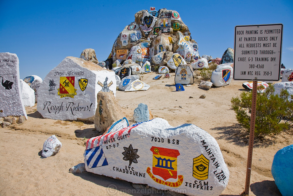Painted rocks in California's Mojave Desert, near the military training center at Fort Irwin.