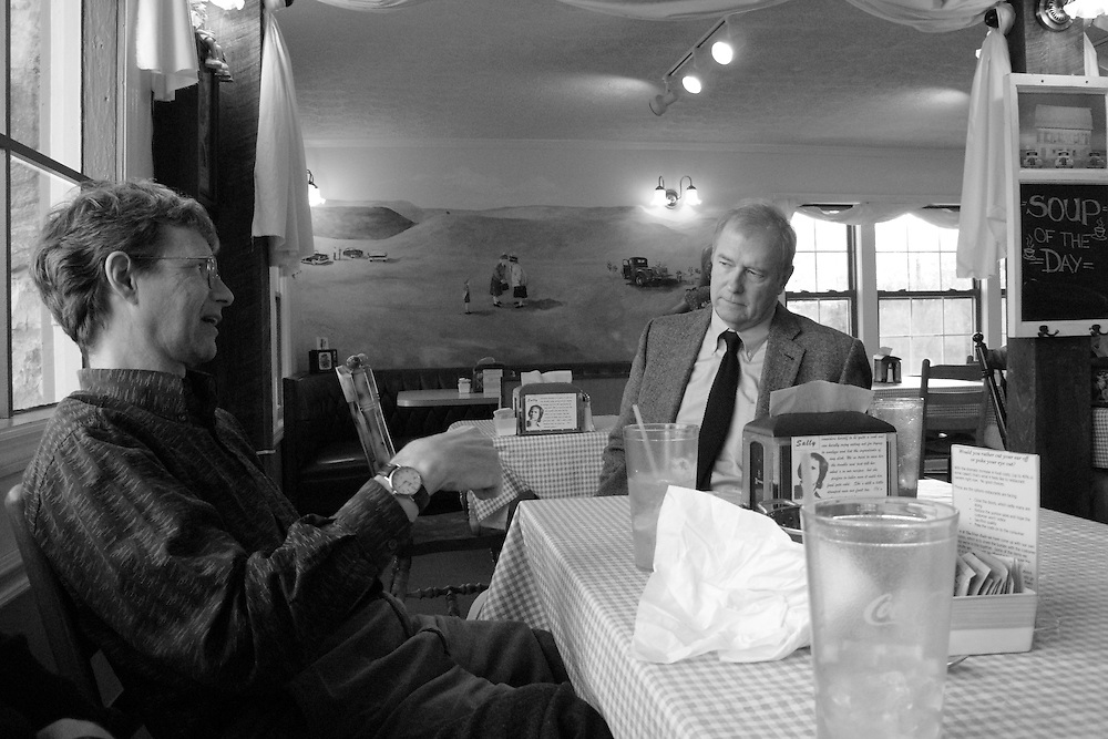 Wyatt Prunty (poet, critic, and director of the Sewanee Writers' Conference) and William Logan (poet and critic at the University of Florida) at a cafe in Sewanee, Tennessee.
