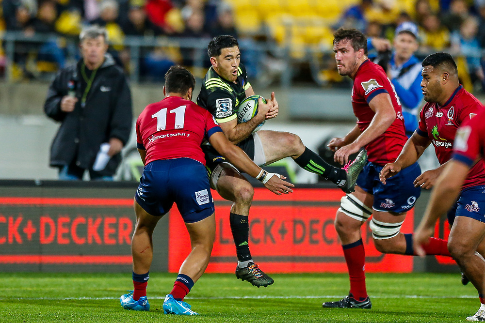 Nehe Milner-Skudder catches the ball during the Super rugby union game (Round 14) played between Hurricanes v Reds, on 18 May 2018, at Westpac Stadium, Wellington, New  Zealand.    Hurricanes won 38-34.