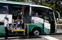 US Athlete lifted on the bus at Paralympic Village ahead of the Rio 2016 Summer Paralympics Games on September 4, 2016 in Rio de Janeiro, Brazil. Photo by Vid Ponikvar / Sportida