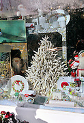 Store window decorated for Chirstmas with sea stars (starfish) in the shape of a Christmas tree, white cupas and plates decorated with holly leaves and berries, jewelry and decorative Santas. Nantucket, Massachusetts, USA 2010