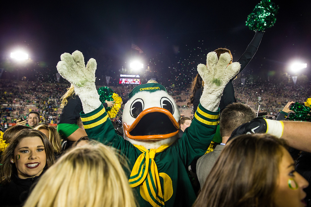 Oregon Duck mascot. Photographed at the 2015 Rose Bowl Game in Pasadena, California, on January 1, 2015. (Photograph ©2015 Darren Carroll)