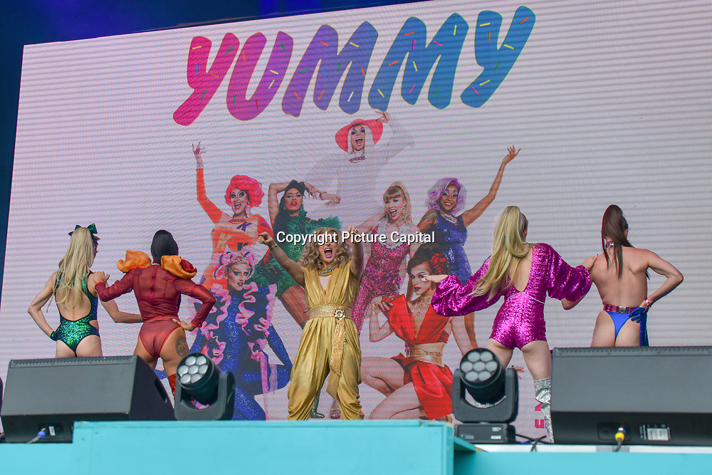 Yummy performs selfies maniac at West End Live 2019 - Day 2 in Trafalgar Square, on 23 June 2019, London, UK.