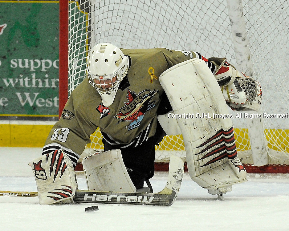 TRENTON, ON - Nov 10 : Ontario Junior Hockey League Game Action between Trenton Golden Hawks and the Hamilton Red Wings.  Denny Dubblestyne #33 of the Trenton Golden Hawks Hockey Club makes the save.<br /> (Photo by Phillip Sutherland / OJHL Images)