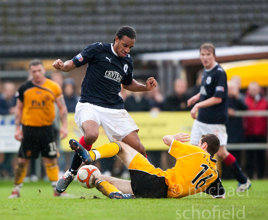 Falkirk's Rhys Bennett and Jordan McKenzie..Annan Athletic 0 v 3 Falkirk. Semi Final of the Ramsdens Cup, 9/10/2011..Pic © Michael Schofield.