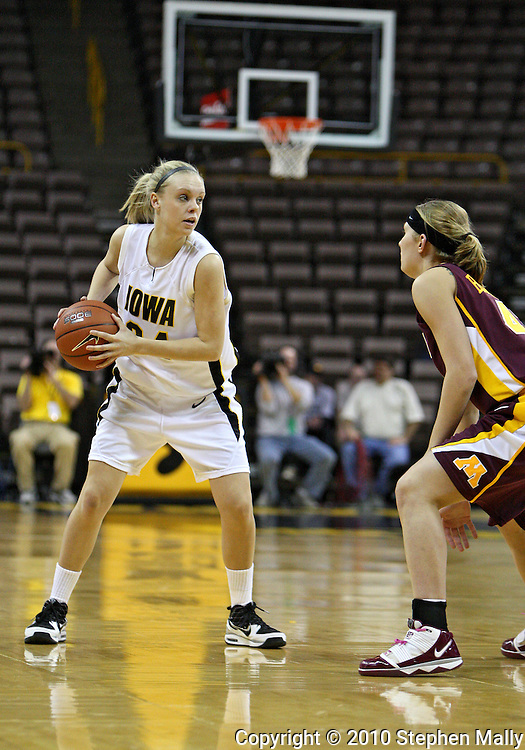 February 18, 2010: Iowa guard Jaime Printy (24) during the first half of the NCAA women's basketball game at Carver-Hawkeye Arena in Iowa City, Iowa on February 18, 2010. Iowa defeated Minnesota 75-54.