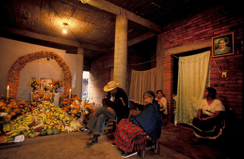Day of the dead shrine, home of Samuel Luciano, Town of Santa Fe la Laguna, Michoacan Mexico