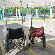 OCTOBER 24 - PONCE, PUERTO RICO - <br /> Wheelchairs at the entrance into a temporary hospital tent set up outside the Ponce VA hospital which suffered damage due to the passing of Hurricane Maria.<br /> (Photo by Angel Valentin/Freelance)