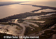 Aerial of Lake Erie at dusk, Presque Isle State Park, Erie Co., PA