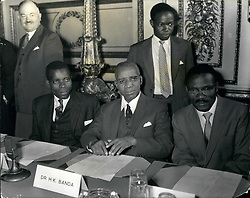 Dec. 05, 1960 - 5-12-60 The Rhodesia and Nyasaland Constitutional Review Conference opens – The African leaders, Dr. Nkomo Kenneth Kaunda and Hastings Banda were among the delegates at today's conference of the Constitutional Review Conference on Rhodesia and Nyasaland at Lancaster House. Keystone Photo Shows: L-R: Mr. O.E. Chirwa (Nyasaland); Dr. Hastings Banda (Nyasaland Leader); Mr. D.K. Chisiza (Nyasaland) at opening of the conference this morning. (Credit Image: © Keystone Press Agency/Keystone USA via ZUMAPRESS.com)