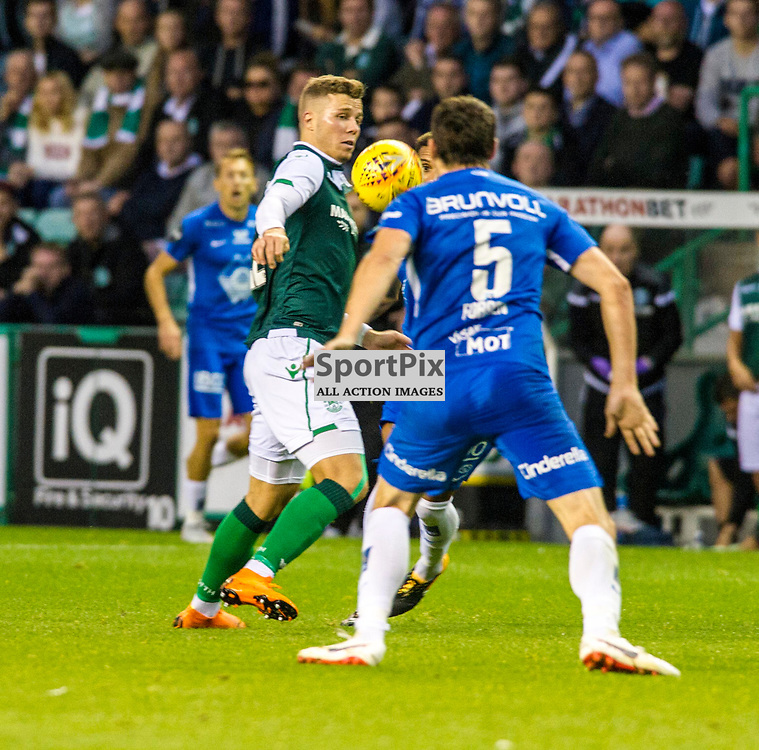 Pictured: Florian Kamberi had a frustrating game<br /> <br /> Hibs welcomed Molde to Easter Road for their second home game of the Europa League campaign