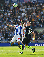 BRIGHTON, ENGLAND - MAY 12:    Anthony Knockaert (11) of Brighton and Hove Albion is fouled by Oleksandr Zinchenko (35) of Manchester City during the Premier League match between Brighton & Hove Albion and Manchester City at American Express Community Stadium on May 12, 2019 in Brighton, United Kingdom. (MB Media)