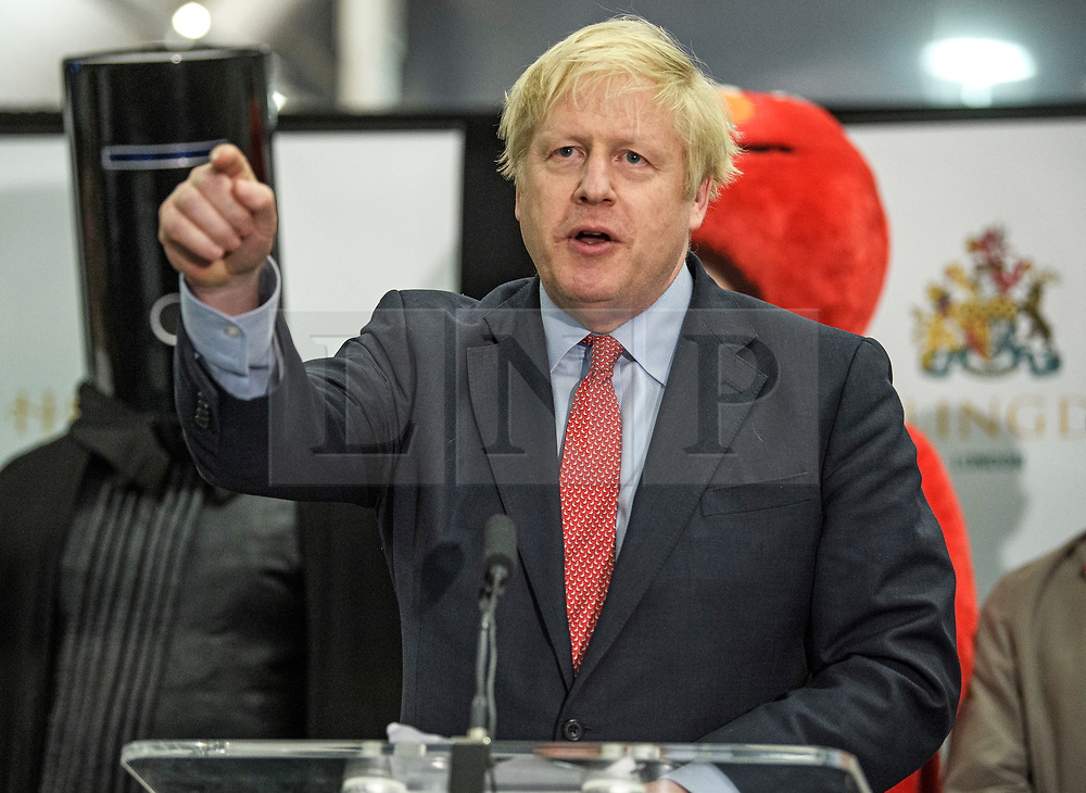 © Licensed to London News Pictures. 13/12/2019. London, UK. British Prime Minister BORIS JOHNSON speaks after being elected at the General Election count for the constituency of Uxbridge and South Ruislip. A general election was called for December 12th following a deadlock in Parliament over the UK's decision to leave the EU. Photo credit: Ben Cawthra/LNP