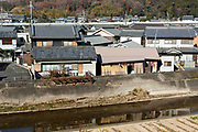 flood protection canal and housing in Sakurai, Nara prefecture Japan