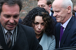 © Licensed to London News Pictures. 06/01/2016. Croydon, UK. Former Chelsea team doctor EVA CARNEIRO (C) leaves Croydon Employment Tribunal with her husband JASON DE CARTERET (L) . Carneiro is claiming constructive dismissal against Chelsea football club. Photo credit: Peter Macdiarmid/LNP
