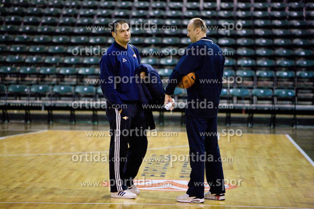 Head coach of Lottomatica Nando Gentile and Head coach of Olimpija Jure Zdovc at training session of KK Union Olimpija, on November 24, 2009, in Arena Tivoli,  Ljubljana, Slovenia.   (Photo by Vid Ponikvar / Sportida)