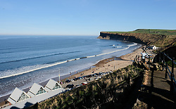 © Licensed to London News Pictures. <br /> 25/03/20167. <br /> Saltburn by the Sea, UK.  <br /> <br /> General view of Huntcliff in Saltburn by the Sea, North Yorkshire. <br /> The bodies of two teenagers were found at the cliffs yesterday evening. <br /> Emergency services were called to a report of a body being found at the bottom of Huntcliff yesterday evening and officers and Coastguard personnel found the bodies of two 17-year olds at the cliffs.<br /> Inquiries are ongoing to establish the circumstances around what happened.<br /> <br /> Photo credit: Ian Forsyth/LNP
