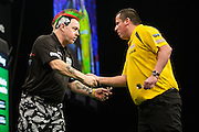 Peter Wright defeats Dave Chisnall during the Premier League Darts  at the Motorpoint Arena, Cardiff, Wales on 31 March 2016. Photo by Shane Healey.
