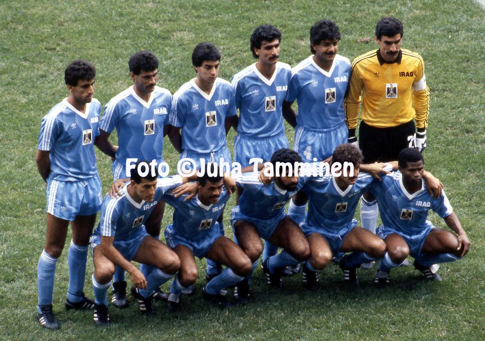 FIFA World Cup - Mexico 1986<br /> 11.6.1986, Estadio Azteca, Mexico DF.<br /> Group B, Iraq v Mexico.<br /> Iraq starting line up.