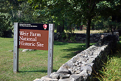 National Park Service welcome sign Weir Farm National Historic Site, former home of painter J. Alden Weir, Branchville, Connecticut.