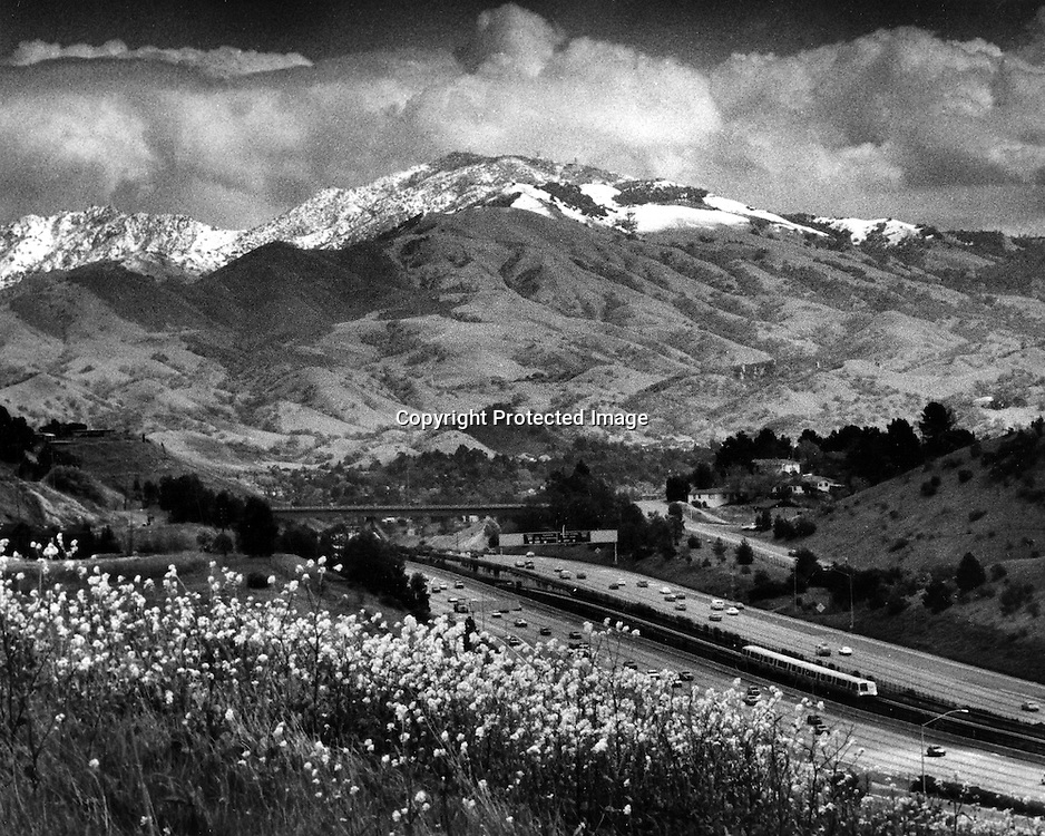 View of highway #24 toward Walnut creek, California  and snow covered Mt. Diablo.(photo by Ron Riesterer)