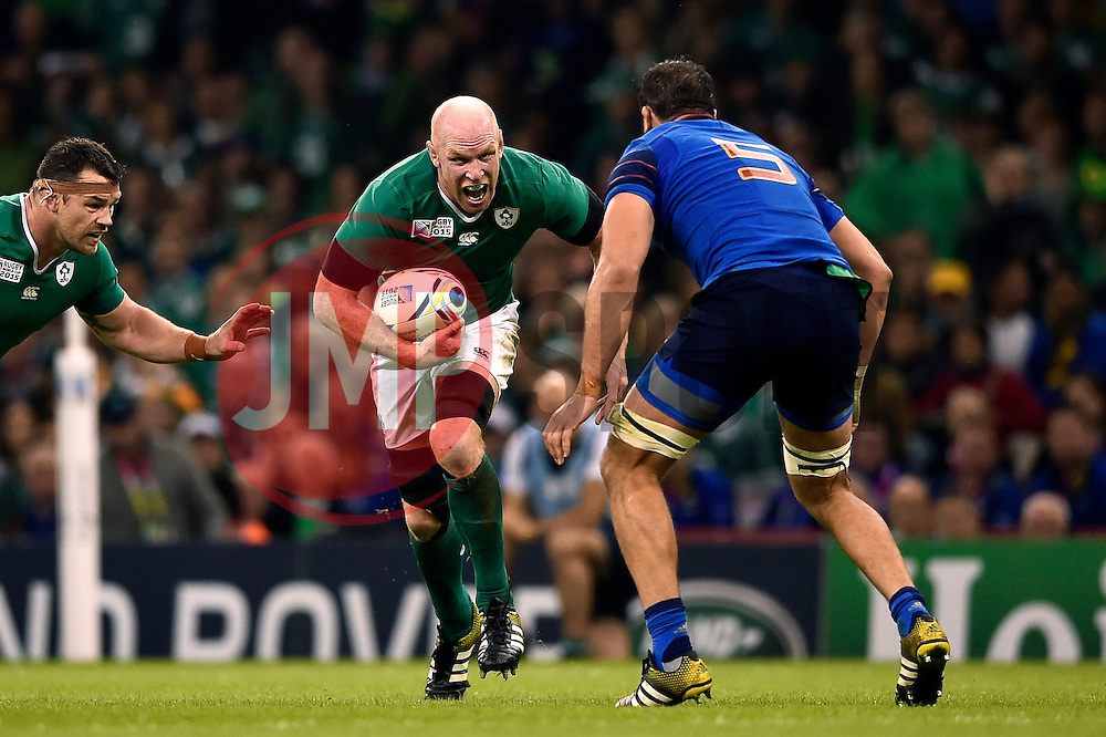 Paul O'Connell of Ireland takes on the France defence - Mandatory byline: Patrick Khachfe/JMP - 07966 386802 - 11/10/2015 - RUGBY UNION - Millennium Stadium - Cardiff, Wales - France v Ireland - Rugby World Cup 2015 Pool D.