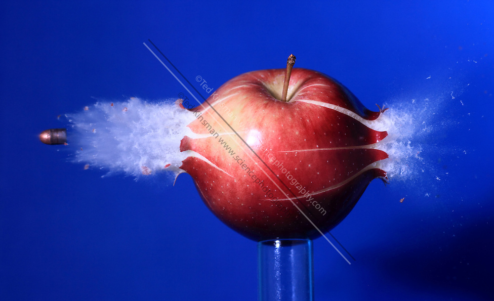 A .22 caliber bullet hitting an apple. The bullet is travelling at 660 feet per second (201 meters per second). This image shows the collision of the bullet and apple photographed at at 1/1,000,000th of a second flash/strobe speed.