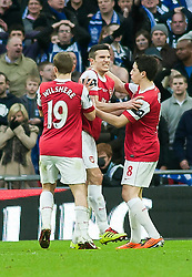 27.02.2011, Wembley Stadium, London, ENG, Carling Cup, Finale, Arsenal FC vs Birmingham City, im Bild Arsenal's Robin van Persie celebrates after his goal makes it 1-1 against Birmingham City during the Football League Cup Final match at Wembley Stadium, EXPA Pictures © 2011, PhotoCredit: EXPA/ Propaganda/ Gareth Davies *** ATTENTION *** UK OUT!