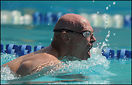 September 21, 2012 -Warner Robins: Robert List, 66, Nichols, SC,  glides through the water swimming the breaststroke during the 30th Annual Georgia Golden Olympics  in Warner Robins, Georgia on Friday, September 21,2012.  The games started on Wednesday  and will end on Saturday.   Over 600 athletes from the age of 50 to 94 competed in swimming, track and field, tennis, table tennis, bowling, basketball checkers, cycling and other sports for a chance at a medal and to qualify for the 2013 National Senior Games in Cleveland, Ohio.  Johnny Crawford © 2013