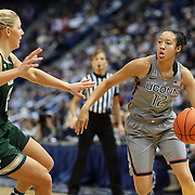 HARTFORD, CONNECTICUT- JANUARY 10:  Saniya Chong #12 of the Connecticut Huskies drives past Maria Jespersen #12 of the South Florida Bulls during the the UConn Huskies Vs USF Bulls, NCAA Women's Basketball game on January 10th, 2017 at the XL Center, Hartford, Connecticut. (Photo by Tim Clayton/Corbis via Getty Images)