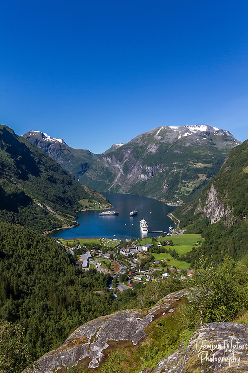 View of Geiranger and Geirangerfjord, Stranda, Norway - August