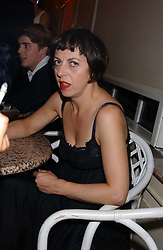 ISABELLA BLOW at a party to celebrate 'Made in Italy at Harrods' - a celebration of Italian fashion food and wine, design and interiors, art and photography, cinema and music, beauty and glamour.  The party was held in the Georgian Restaurant at Harrods, Knightsbridge, London on 9th September 2004.<br /><br />PICTURES LICENCED UNTIL 9/3/2004 FOR USE TO PROMOTE THE 'MADE IN ITALY' EVENT/S ONLY.