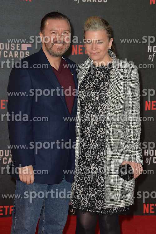 Ricky Gervais and Jane Fallon attends the World Premiere of 'House of Cards' Season 3 at The Empirem Leicester Square in London, England. 26th February 2015. EXPA Pictures &copy; 2015, PhotoCredit: EXPA/ Photoshot/ James Warren<br /> <br /> *****ATTENTION - for AUT, SLO, CRO, SRB, BIH, MAZ only*****