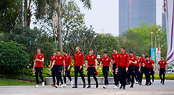 NANNING, CHINA - Monday, March 26, 2018: Wales players during a team walk near the Wanda Realm Resort on day seven of the 2018 Gree China Cup International Football Championship ahead of the final against Uruguay. (Pic by David Rawcliffe/Propaganda)