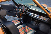 Image of a 1966 Bahama Yellow Porsche 912 interior in Salt Lake City, Utah, American Southwest, property released
