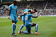 Wolverhampton Wanderers striker Benik Afobe celebrates equaliser during the Sky Bet Championship match between Derby County and Wolverhampton Wanderers at the iPro Stadium, Derby, England on 18 October 2015. Photo by Alan Franklin.