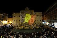 20160322 - Fontana di Trevi con i colori della bandiera belga, per le vittime di Bruxelles