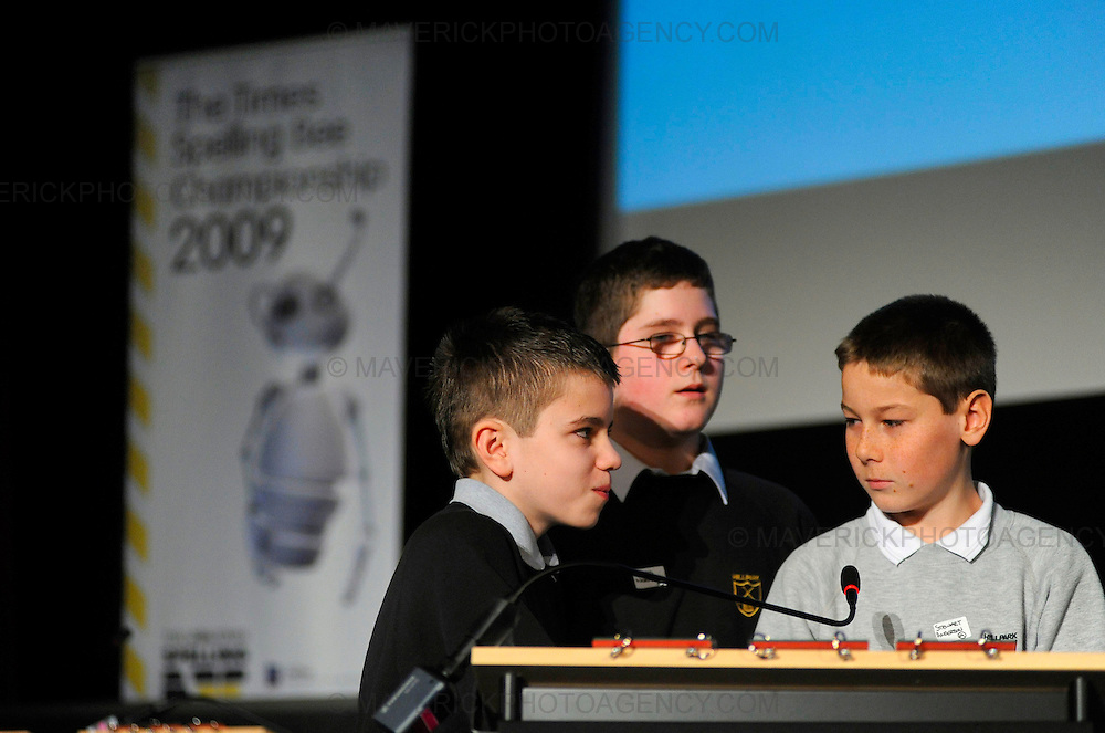 Teams compete in the Glasgow regional heats of the Times Spelling Bee contest.  Popular in the USA, the Times Spelling Bee has captured the imagination of Britainís secondary school children.  Teams from 754 schools will put their spelling to the test in 89 local heats over the next couple of months. Pictured pupils from Hillpark Secondary School, l to r James Diamond, Ross Norman and Stewart Anderson.