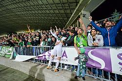 Player of Olimpija Ljubljana celebrates with fans during football match between NK Maribor and NK Olimpija Ljubljana in 34th Round of Prva liga Telekom Slovenije 2017/18, on May 19, 2018 in Ljudski vrt, Maribor, Slovenia. Photo by Mario Horvat / Sportida
