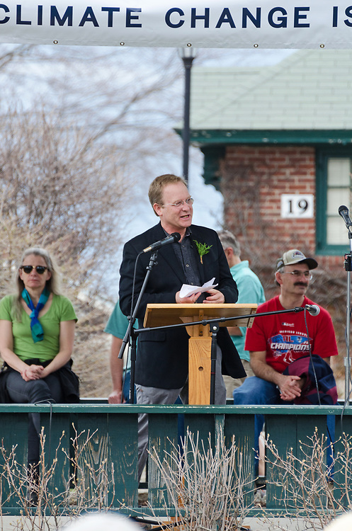 Bar Harbor, USA. 29 April, 2017.  Brian Hubbell, Maine House of Representatives, District 135, addresses the crowd at the Downeast Climate March.
