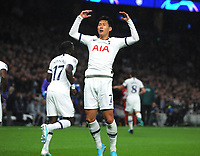 Football - 2019 / 2020 UEFA Champions League - Group B: Tottenham Hotspur vs. Bayern Munich<br /> <br /> Heung - Min Son of Tottenham celebrates scoring his first half goal, at The Tottenham Hotspur Stadium.<br /> <br /> COLORSPORT/ANDREW COWIE