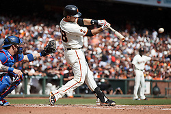 SAN FRANCISCO, CA - OCTOBER 02: Buster Posey #28 of the San Francisco Giants hits a two run single against the Los Angeles Dodgers during the first inning at AT&T Park on October 2, 2016 in San Francisco, California.  (Photo by Jason O. Watson/Getty Images) *** Local Caption *** Buster Posey