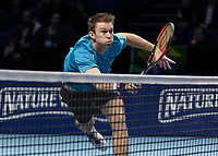 Tennis - 2017 Nitto ATP Finals at The O2 - Day Eight<br /> <br /> Mens Doubles: Final : Henri Kontinen (Finland) & John Peers (Australia) Vs Lukasz Kubot (Poland) & Marcelo Melo (Brazil) <br /> <br /> John Peers (Australia) dives to his right and returns the ball at the O2 Arena<br /> <br /> COLORSPORT/DANIEL BEARHAM