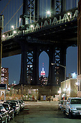 Night view of Manhattan Bridge and Empire State Building